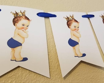 Royal Little Prince Pennant Garland Banner Can be Personalized  1st birthday party or baby shower Decor