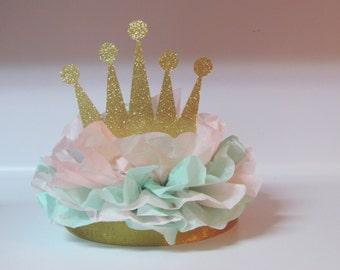 Crown Tiara Glitter Centerpiece Gold Pink Mint Princess Birthday Party