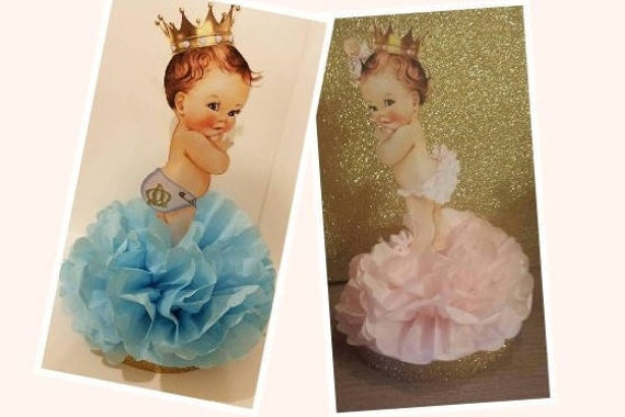 Set Royal baby shower table decor Gender Reveal Ethnic Little Prince Princess table decor centerpiece  set of 2 Also perfect for twins