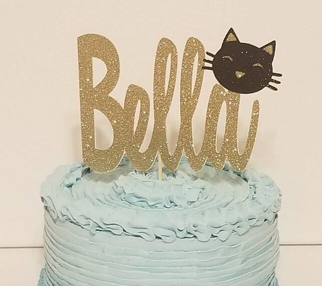 Glitter Kitty Cat Face Name Cake Topper 1st Birthday Table Decor Black