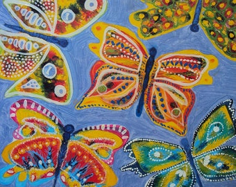 Original Painting Abstract Butterfly Oil on Canvas Contemporary Modern Art