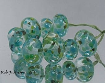 Water Garden, Artisan Lampwork Glass Beads, SRA, UK