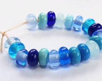 Blue Mix, Artisan Lampwork Glass Beads, SRA, UK