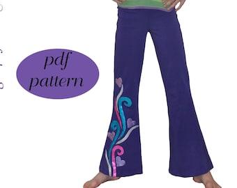 Girls Leggings pdf Pattern Jazz Pants Sewing Pattern Kids Sizes 2-14 70s Costume Leggings