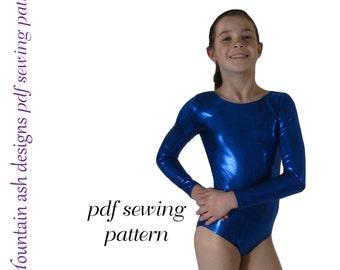 Gymnastics Leotards 2 pdf Sewing Pattern Long Sleeve Leotard Gym Dance Ballet Leotard in Girls sizes 2-14