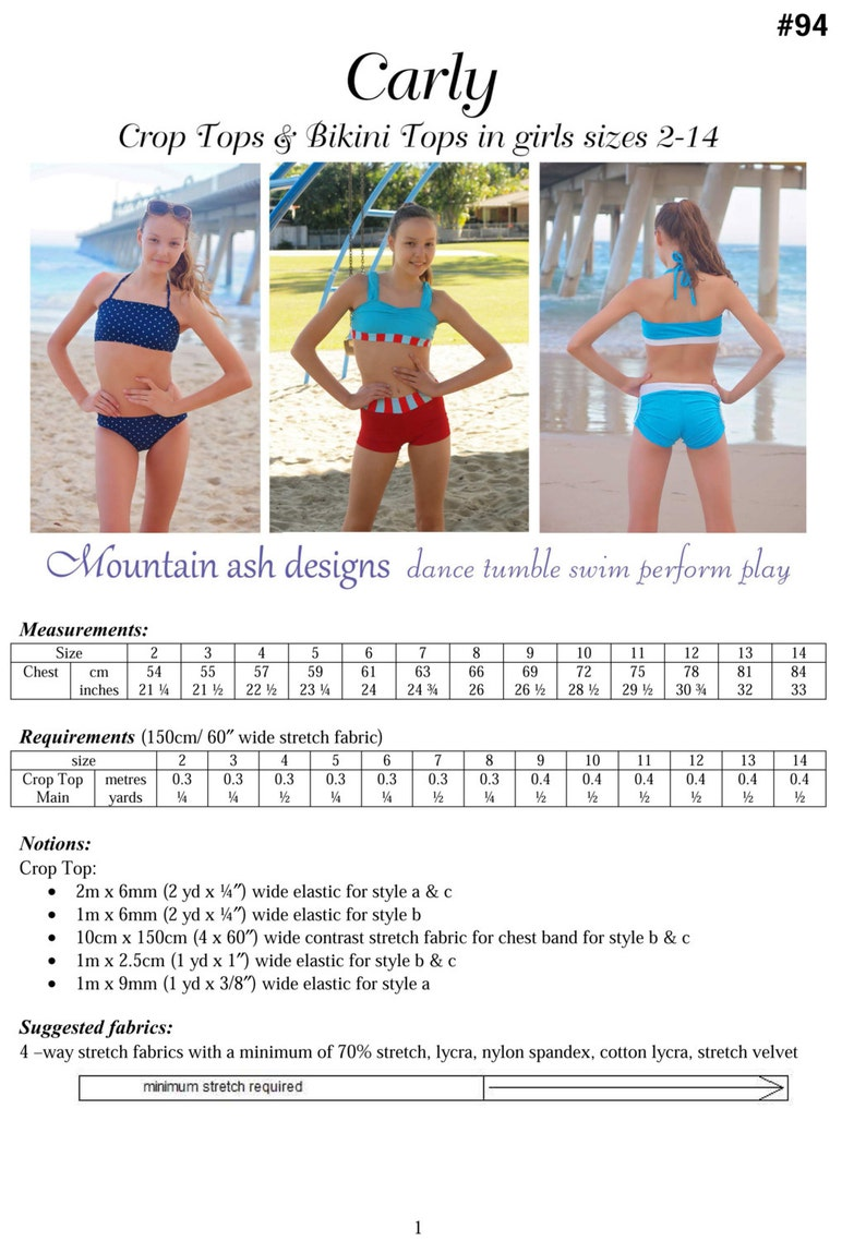Pattern Sizes 14 In Pdf Tops Sewing Carly Crop 2 Bikini Girls And R35LAj4
