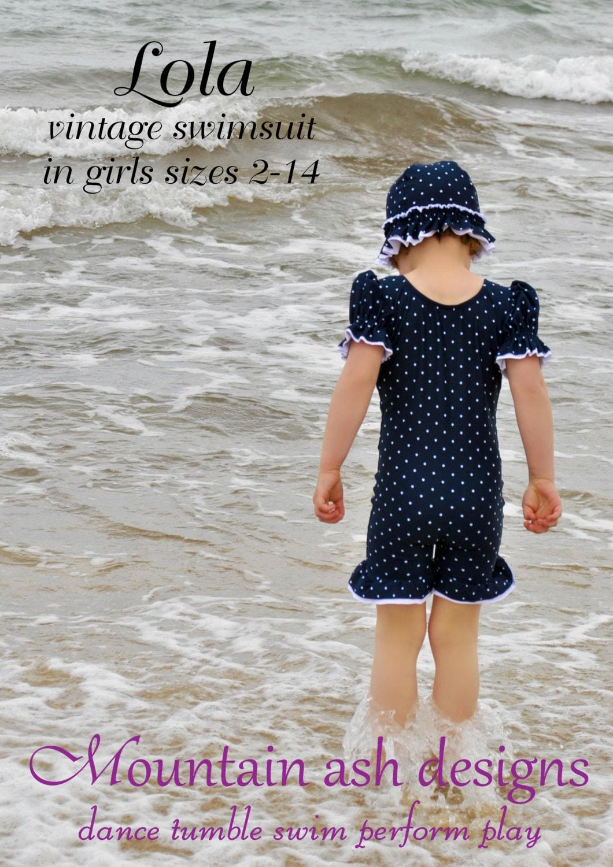 Lola Swimsuit Sewing Pattern Vintage Pdf Girls Sizes 2 14