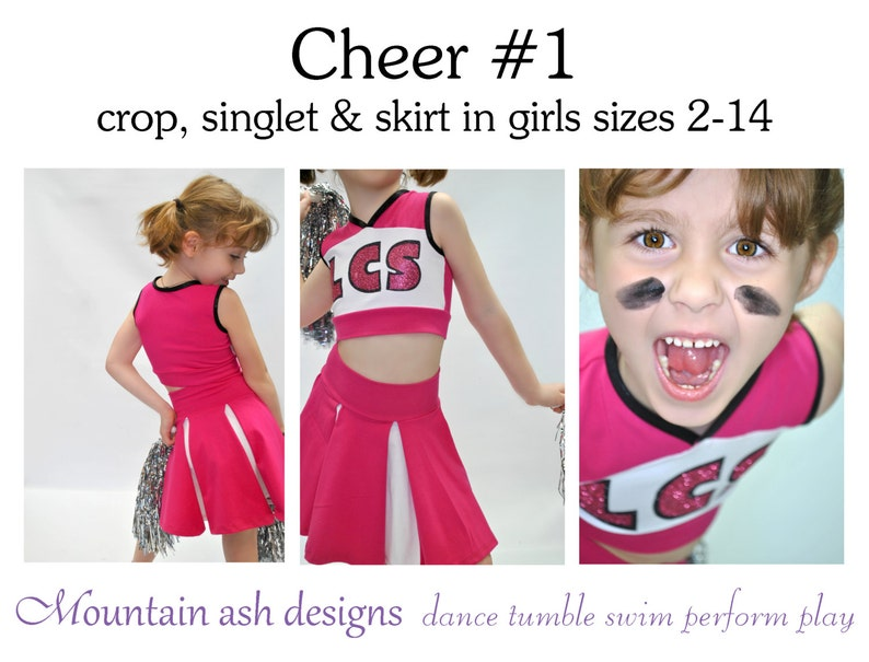 a17c04729f7f5 Cheer 1 pdf sewing pattern girls cheerleading costume uniform