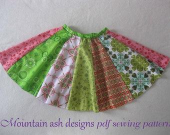 Circle Skirts pdf Sewing Pattern Poodle Character Rainbow Sailor Panel Twirl Skirt Dance Costume Pattern Sizes 1-14