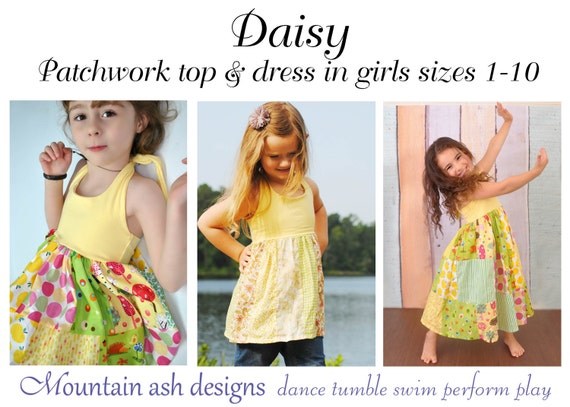 Daisy pdf sewing pattern halter neck patchwork dress top girls | Etsy