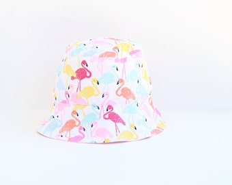 33278be1 Kid's sun hat featuring a bright flamingo design