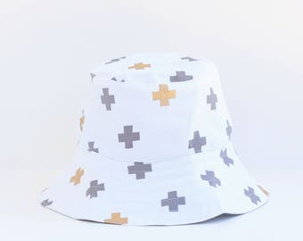 Sun hat, Bucket hat for girls with grey / gold Swiss cross design for baby or child