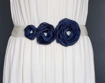 Dark Navy Blue  Wedding Sash - Bridal Sash - Wedding Sash - Bridal Belt - Bridesmaid Sash - Wedding Dress Sash - Navy Blue