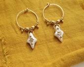 NEREES // small gold filled loops with engraved pearls
