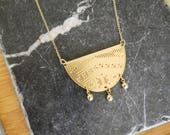 Engraved ethnic looking necklace - BOTERO - gold filled with 3 small drops