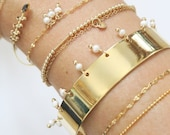 THETIS // gold filled cuff with tiny freshwater pearls