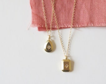CASSIOPEE // Pendant necklace - square or drop mat gold pendant with zircon