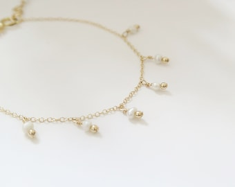 THETIS multi pearls // Thin chain gold filled bracelet with many tiny freshwater pearls