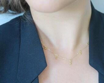Fringe drops short necklace