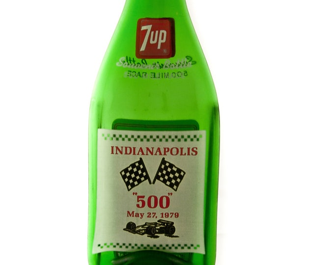 Vintage Indianapolis 500 Race 7-up Bottles - MELTED flat to hang on the wall