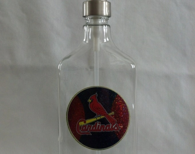 Cardinals glass Soap, Sanitizer or Lotion Dispenser