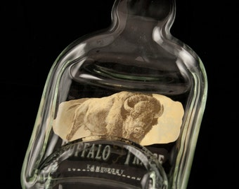 Buffalo Trace Whiskey Bottle Melted into a Dish -