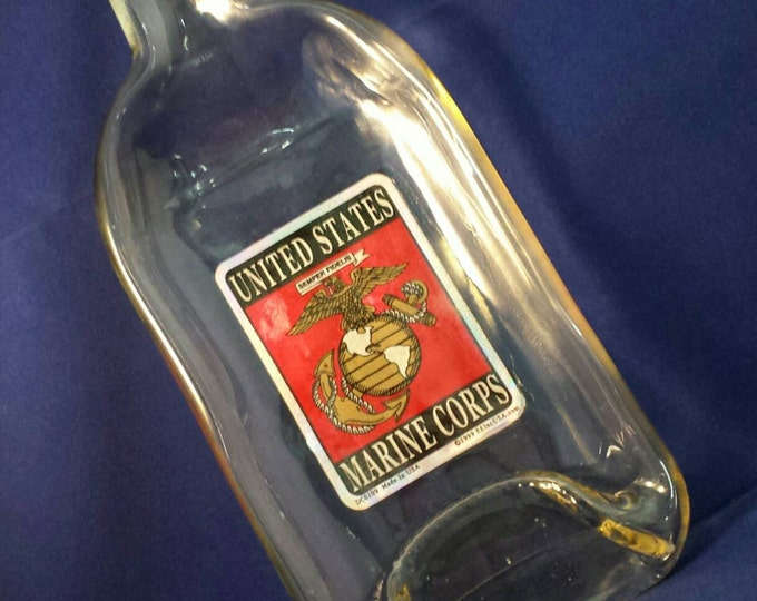 Marine Fireball Whiskey Bottle Melted Into a Dish