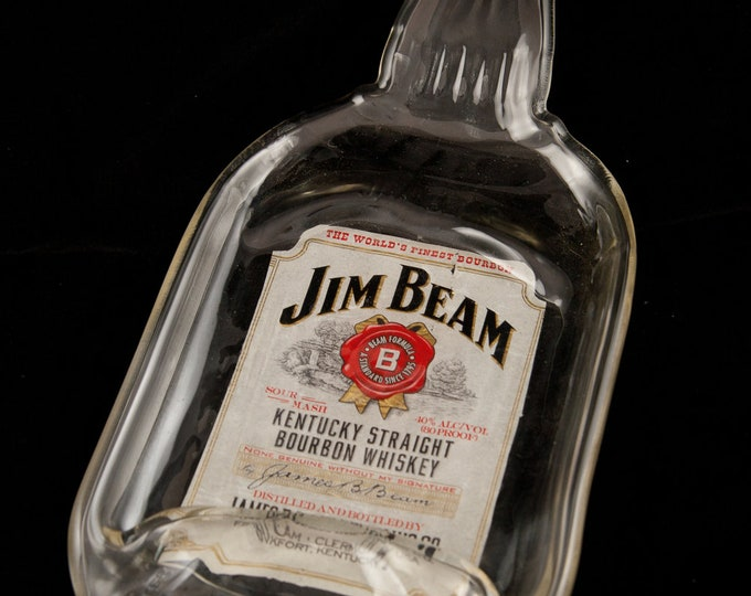 Jim Beam Bottle Melted Into a DISH OR FLAT to hang on the wall