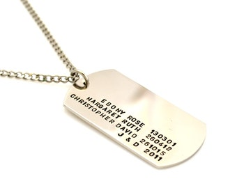 Military Dogtag Style Personalised Hand Stamped Pendant & Chain - Stainless Steel Silver
