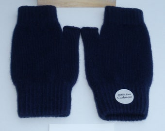 e59bae88373 Ladies Pure Cashmere Knitted Wrist Warmers 19cm Long - Navy 124