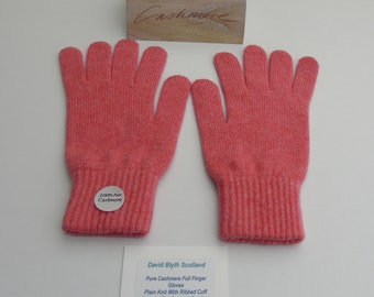 99c72f6af Ladies Pure Cashmere Knitted Gloves Standard Fit - Full Finger - Strawberry  Cream