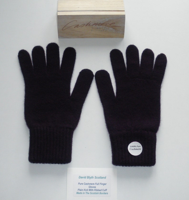 Full Finger Black Ladies Pure Cashmere Knitted Gloves Standard Fit