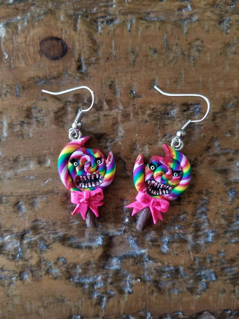 Evil Lollipop Earrings Candy Shop of Horrors polymer clay spooky Halloween accessories