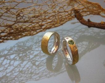 My wedding rings with gemstones