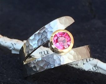 Ring white gold yellow gold with tourmaline