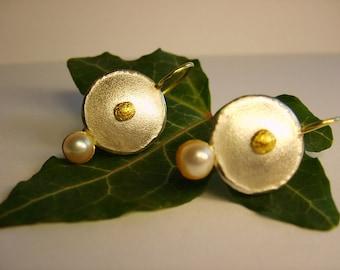 Earrings Gold-Silver Pearl