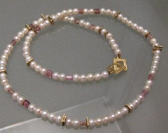 Collier, Chain Akoya Pearls Turmalin Yellow Gold