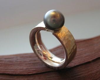 Ring Gold, Silver & Tahitian Pearl~