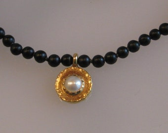 Chain Gold~Onix~Freshwater Pearl