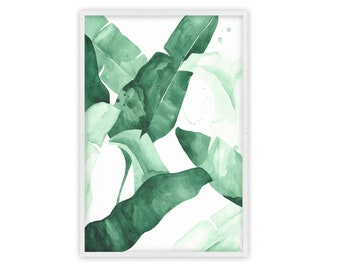 Beverly II Tropical Banana Leaf Watercolor Palm Print Large Wall Art Poster