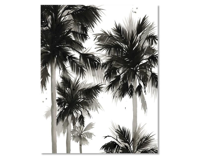 Paradis Noir IV Tropical Black White Palm Leaves Watercolor image 0