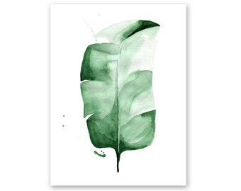 Banana Leaf no. 3 Watercolor Giclee Fine Art Print Poster of Original Painting