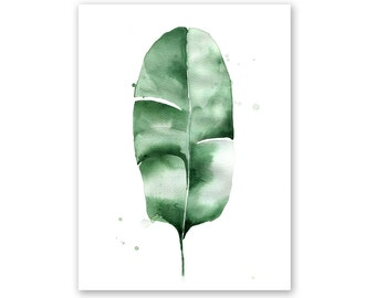 Banana Leaf no. 5 Watercolor Giclee Fine Art Print Poster of Original Painting