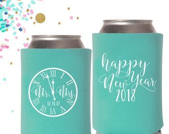 New Years Eve Wedding Can Coolers | NYE Wedding Favor | Happy New Year 2018 Wedding Can Coolers | FREE Shipping