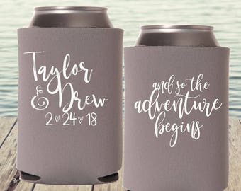 Wedding Can Coolers | The Adventure Begins | Outdoor Wedding | Personalized  Wedding Favors