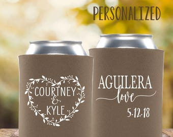 Love You More Rustic Wedding Wreath | Can Cooler Wedding Favor | Personalized Wedding Favors | FREE Shipping