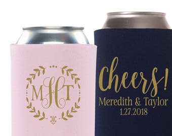 Wedding Monogram | Cheers Can Coolers | Here for the Party | Personalized Bride and Groom Wedding Favor | Southern Wedding Favors