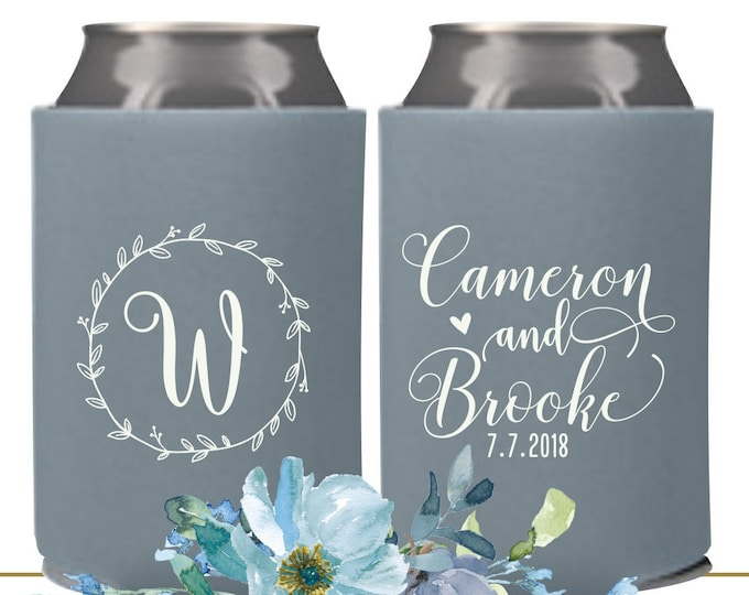 Featured listing image: Wedding Menu Holders | Can Cooler Wedding Favor | Custom Can Coolers | Wedding Can Holders | FREE Shipping