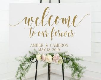 welcome to our forever sign decal | DIY Wood Signs  | personalized wedding sign decal