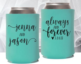 Always and Forever Wedding Can Coolers | Personalized  for Bride and Groom | FREE Shipping | Wedding Reception Favor